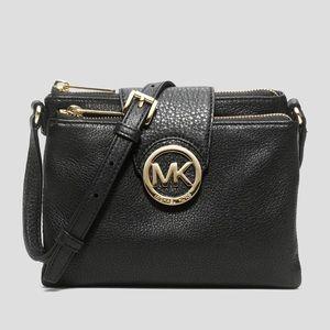 Michael Kors Like New Black Leather Cross-body Bag